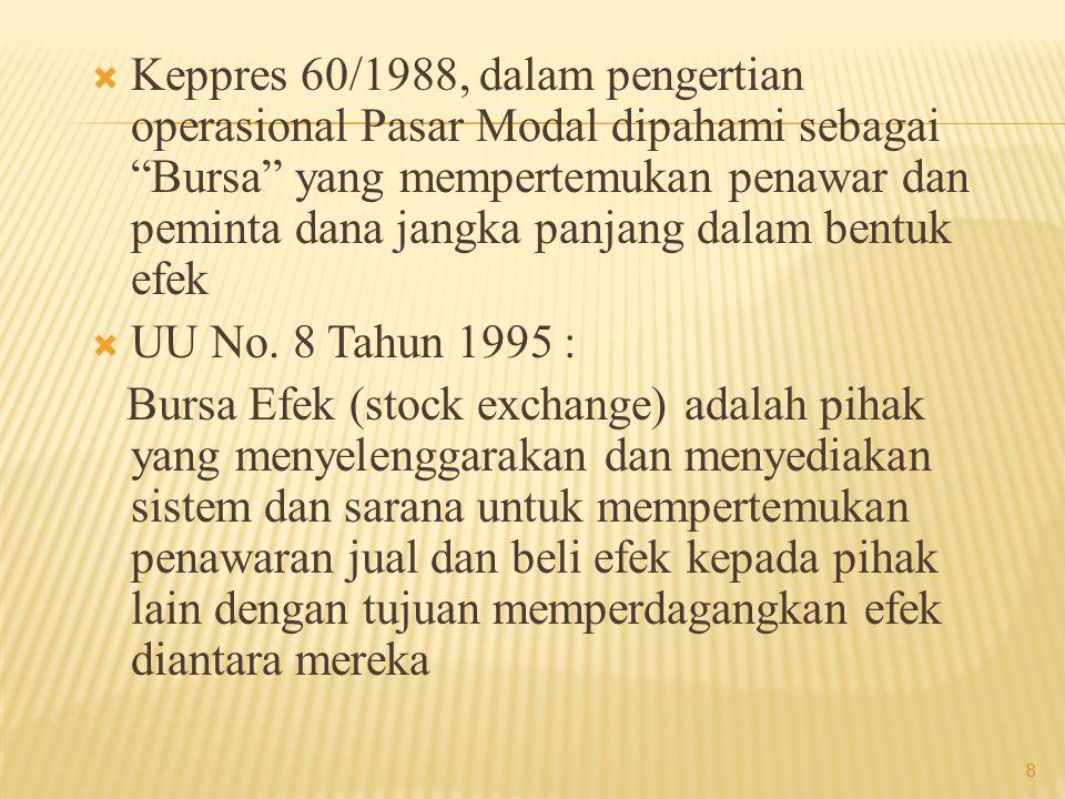 Keppres 60/1988, dalam pengertian operasional Pasar Modal dipahami sebagai Bursa yang mempertemukan penawar dan peminta dana jangka panjang dalam bentuk efek