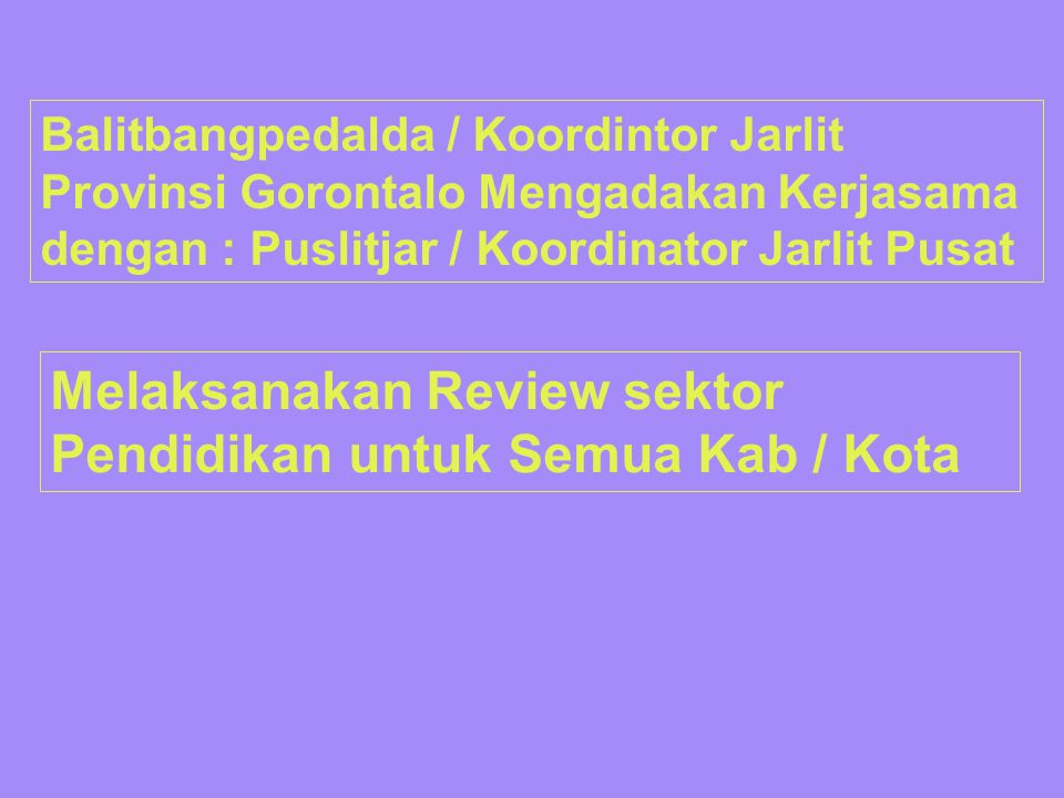 Melaksanakan Review sektor Pendidikan untuk Semua Kab / Kota