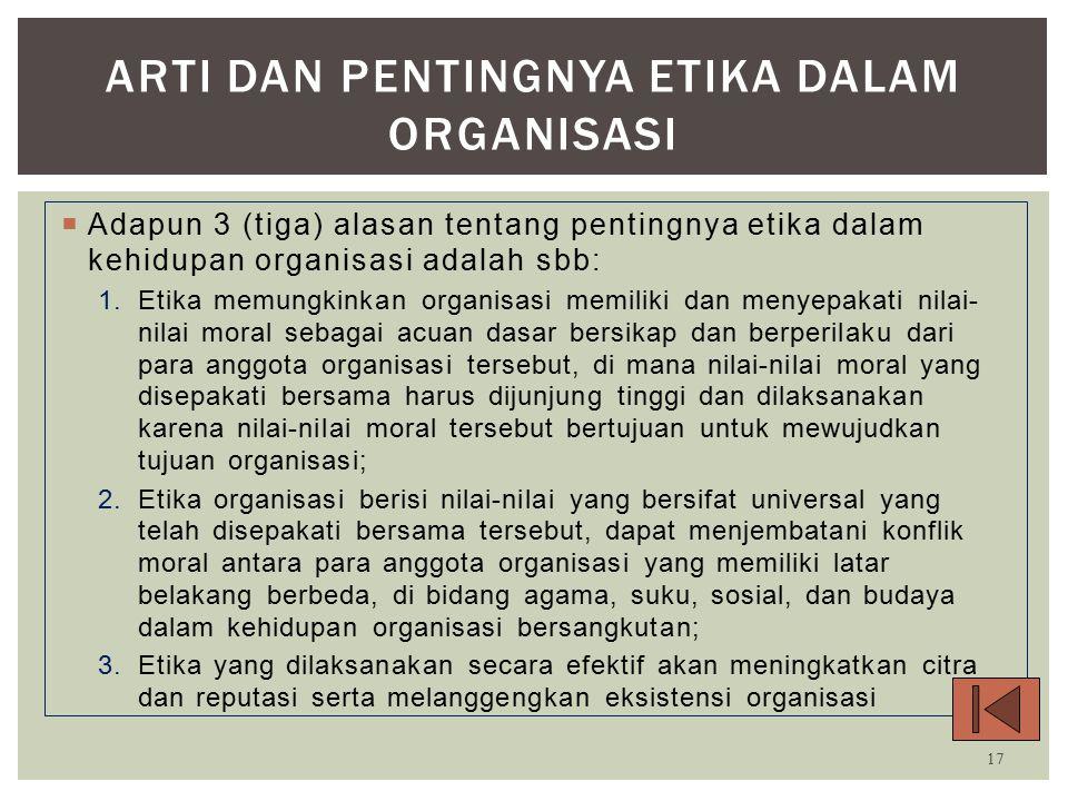 Arti dan Pentingnya Etika Dalam Organisasi