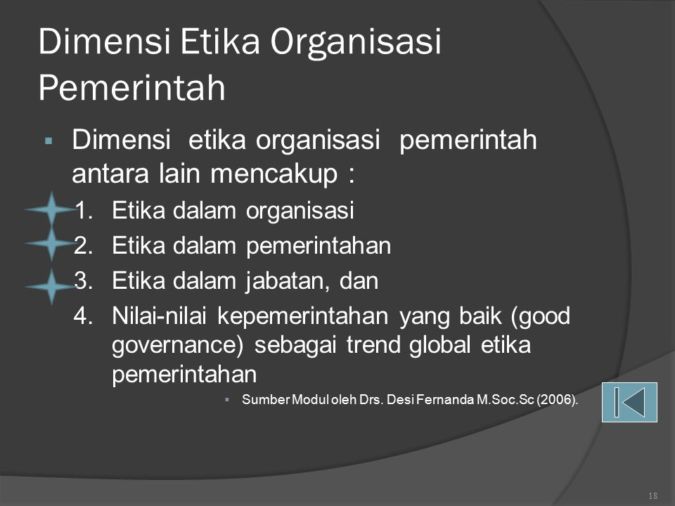 Dimensi Etika Organisasi Pemerintah