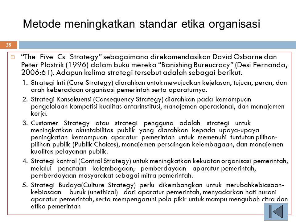 Metode meningkatkan standar etika organisasi