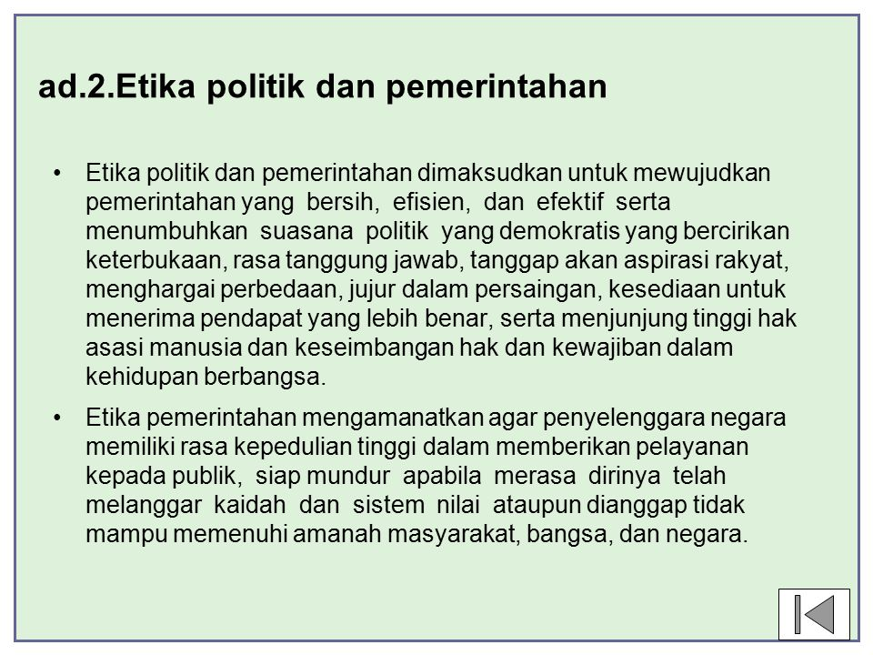 ad.2.Etika politik dan pemerintahan