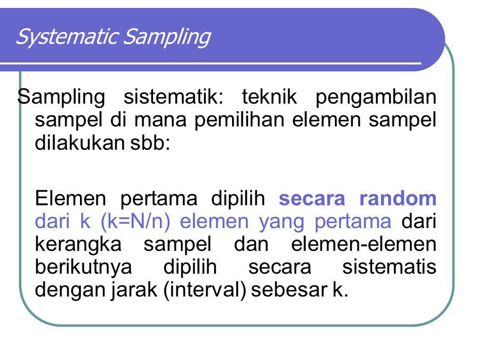 Systematic Sampling Sampling sistematik: teknik pengambilan sampel di mana pemilihan elemen sampel dilakukan sbb: