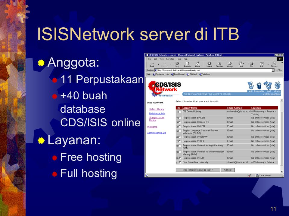 ISISNetwork server di ITB