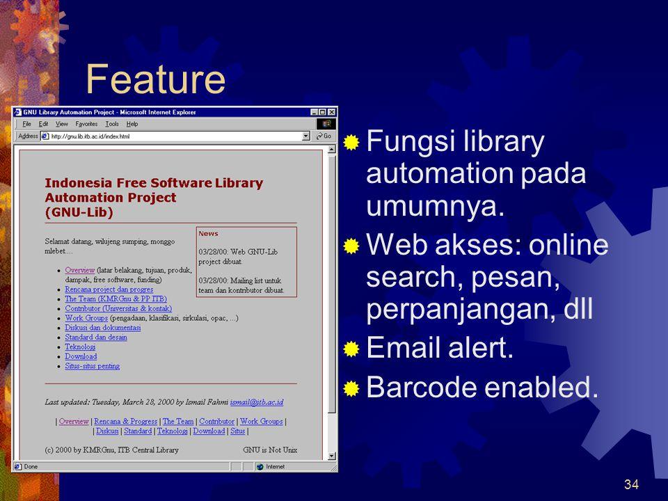 Feature Fungsi library automation pada umumnya.
