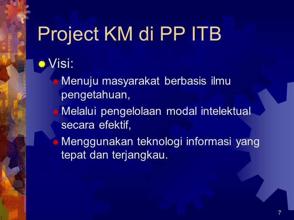 Project KM di PP ITB Visi: