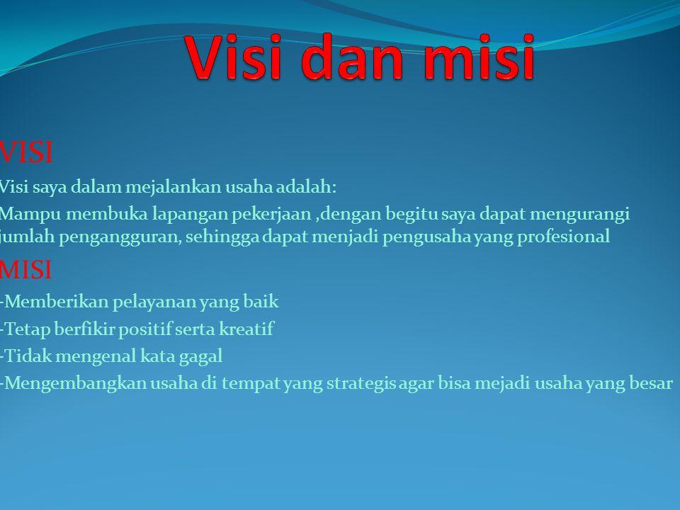 Visi dan misi VISI MISI Visi saya dalam mejalankan usaha adalah: