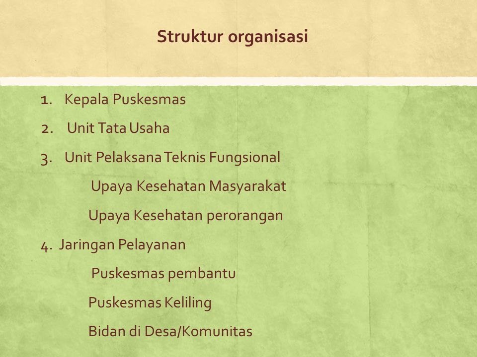 Struktur organisasi Kepala Puskesmas Unit Tata Usaha