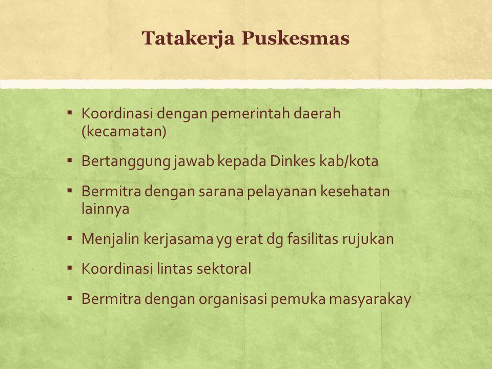 Tatakerja Puskesmas Koordinasi dengan pemerintah daerah (kecamatan)