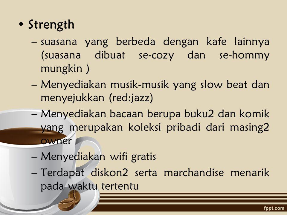 Strength suasana yang berbeda dengan kafe lainnya (suasana dibuat se-cozy dan se-hommy mungkin )