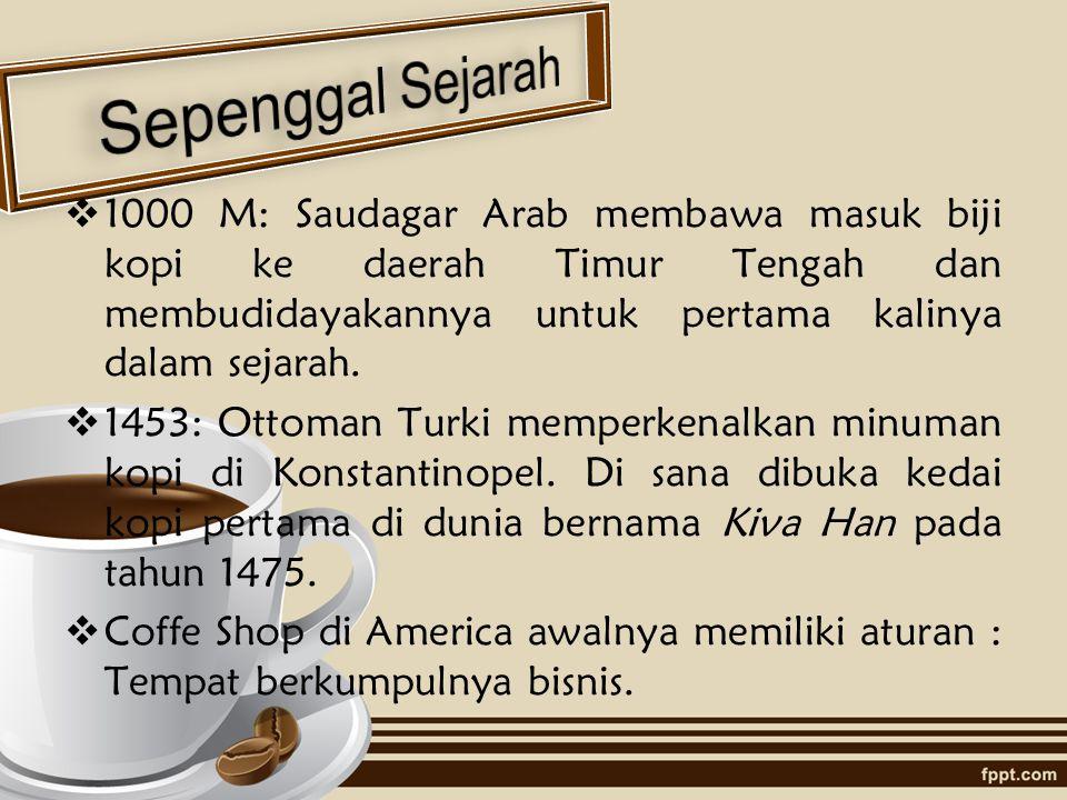 Sepenggal Sejarah 1000 M: Saudagar Arab membawa masuk biji kopi ke daerah Timur Tengah dan membudidayakannya untuk pertama kalinya dalam sejarah.