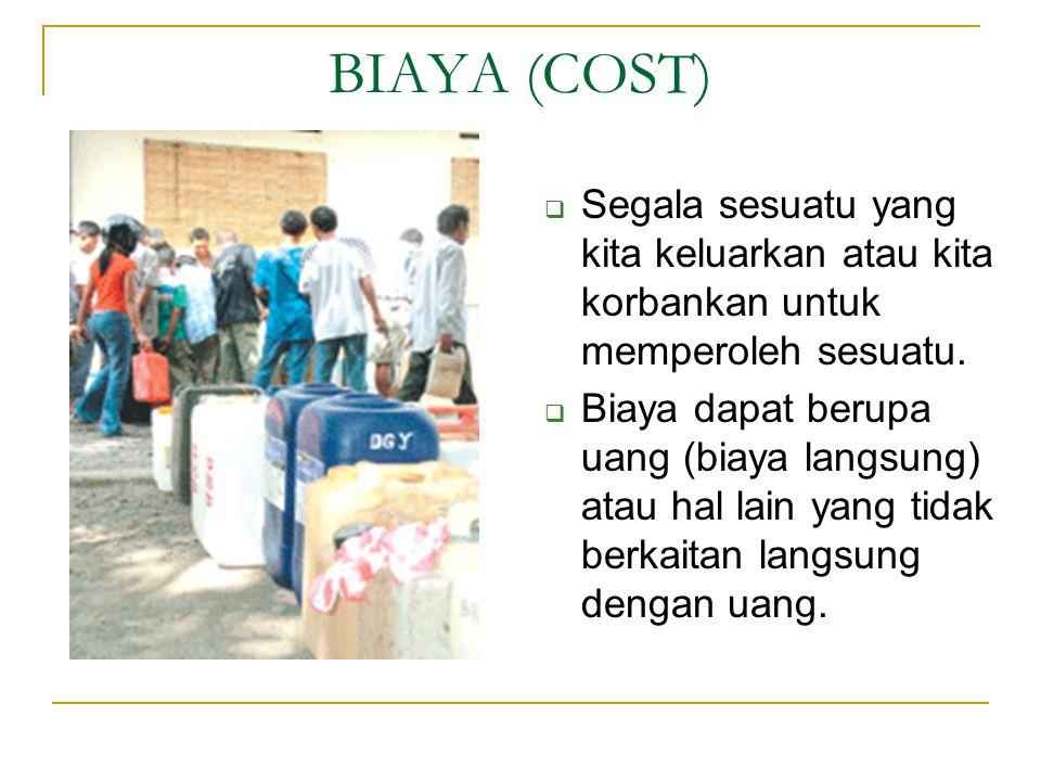 BIAYA (COST) Segala sesuatu yang kita keluarkan atau kita korbankan untuk memperoleh sesuatu.