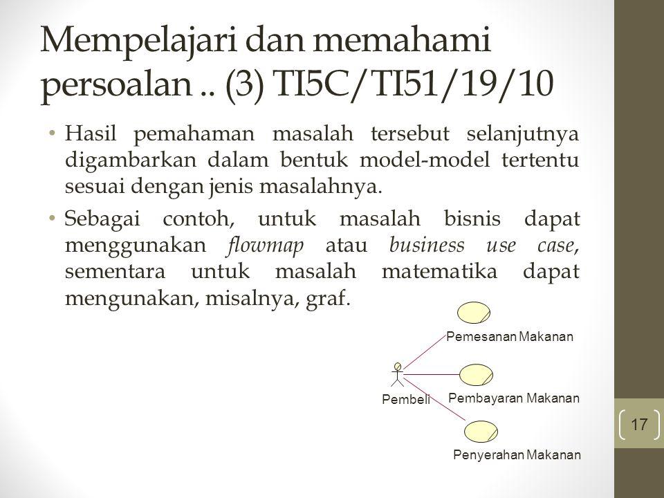 Mempelajari dan memahami persoalan .. (3) TI5C/TI51/19/10