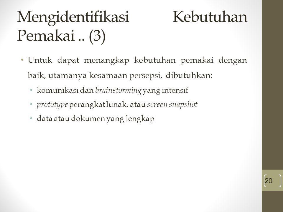 Mengidentifikasi Kebutuhan Pemakai .. (3)