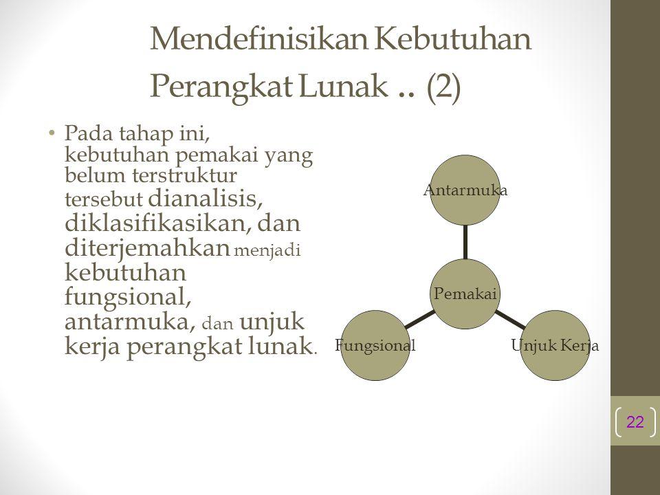 Mendefinisikan Kebutuhan Perangkat Lunak .. (2)