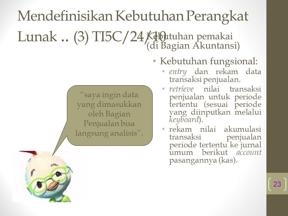 Mendefinisikan Kebutuhan Perangkat Lunak .. (3) TI5C/24/10