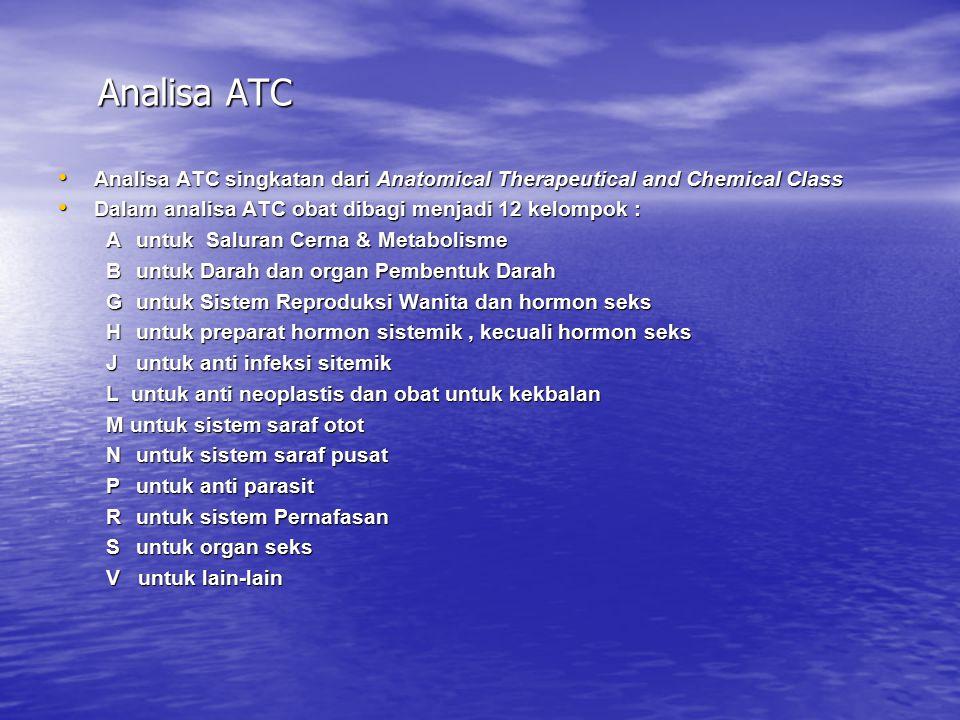 Analisa ATC Analisa ATC singkatan dari Anatomical Therapeutical and Chemical Class. Dalam analisa ATC obat dibagi menjadi 12 kelompok :