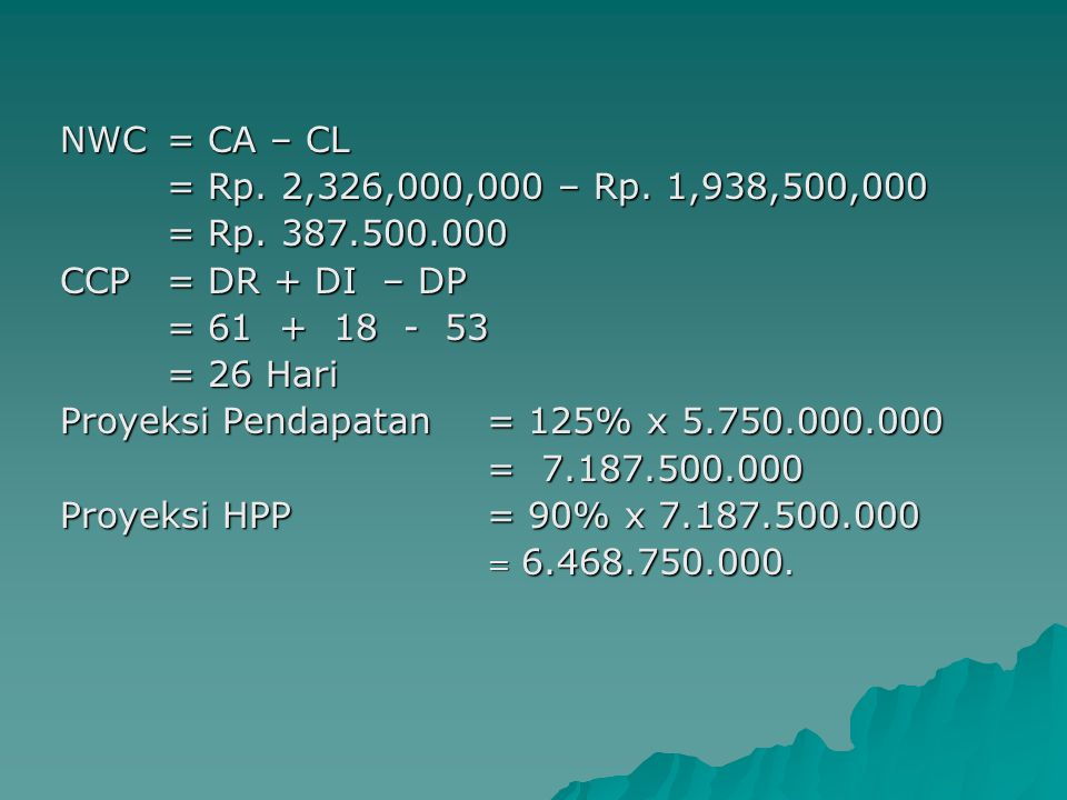 Proyeksi Pendapatan = 125% x 5.750.000.000 = 7.187.500.000
