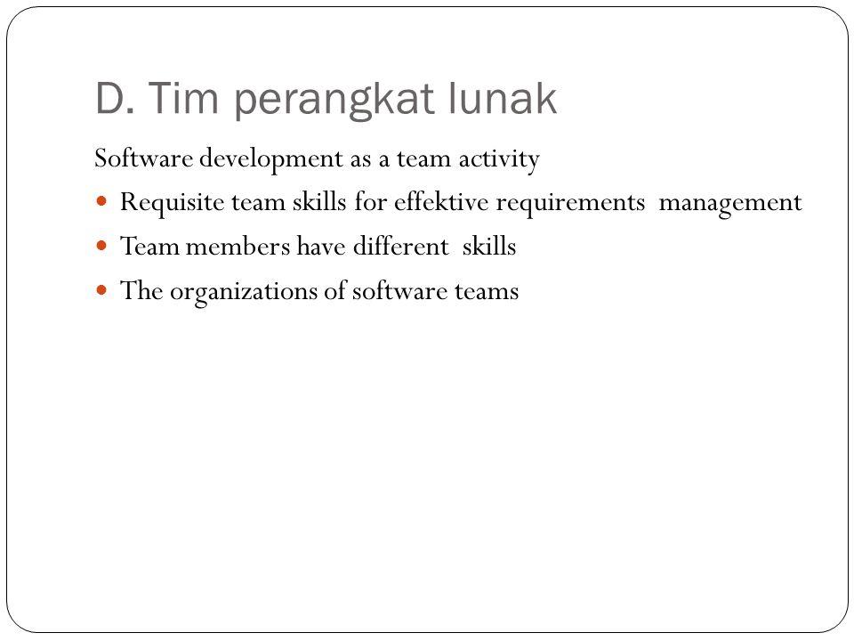 D. Tim perangkat lunak Software development as a team activity