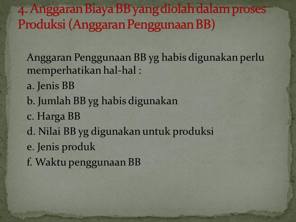 4. Anggaran Biaya BB yang diolah dalam proses Produksi (Anggaran Penggunaan BB)