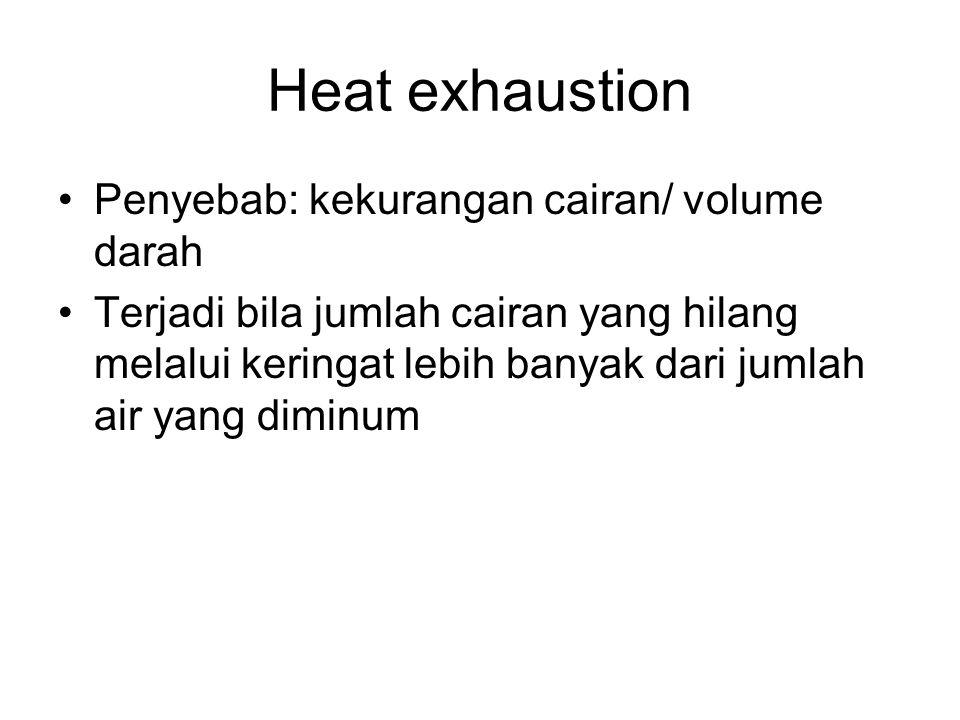 Heat exhaustion Penyebab: kekurangan cairan/ volume darah