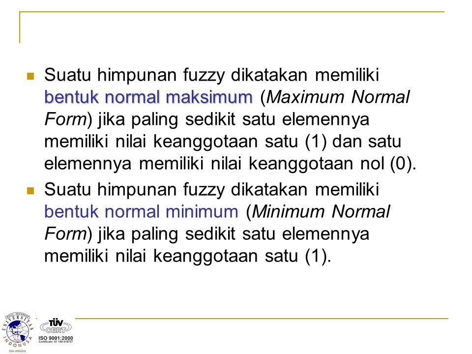 Suatu himpunan fuzzy dikatakan memiliki bentuk normal maksimum (Maximum Normal Form) jika paling sedikit satu elemennya memiliki nilai keanggotaan satu (1) dan satu elemennya memiliki nilai keanggotaan nol (0).