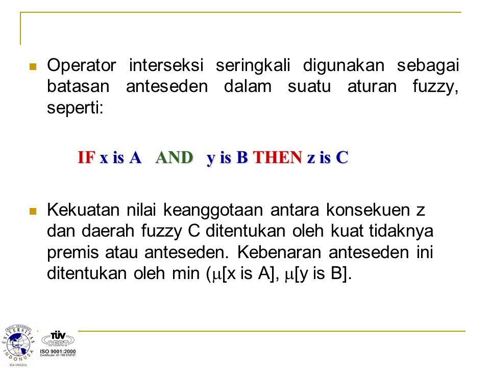 Operator interseksi seringkali digunakan sebagai batasan anteseden dalam suatu aturan fuzzy, seperti:
