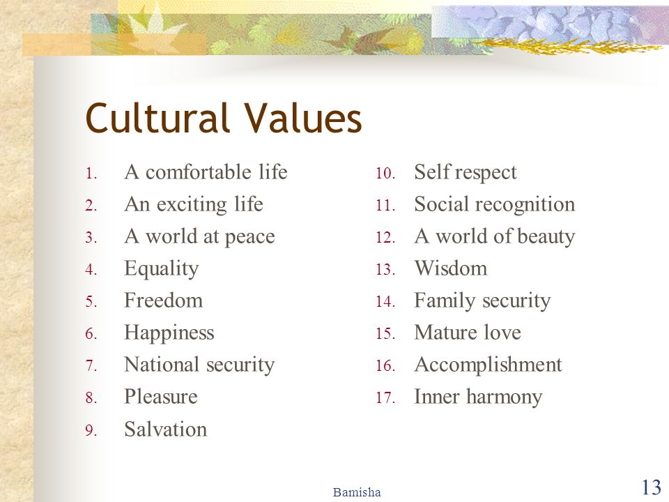 Cultural Values A comfortable life An exciting life A world at peace