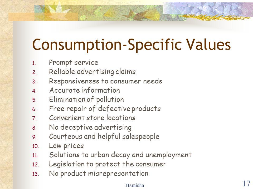Consumption-Specific Values