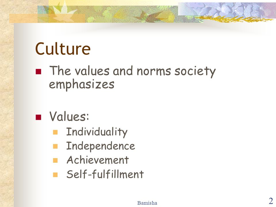 Culture The values and norms society emphasizes Values: Individuality