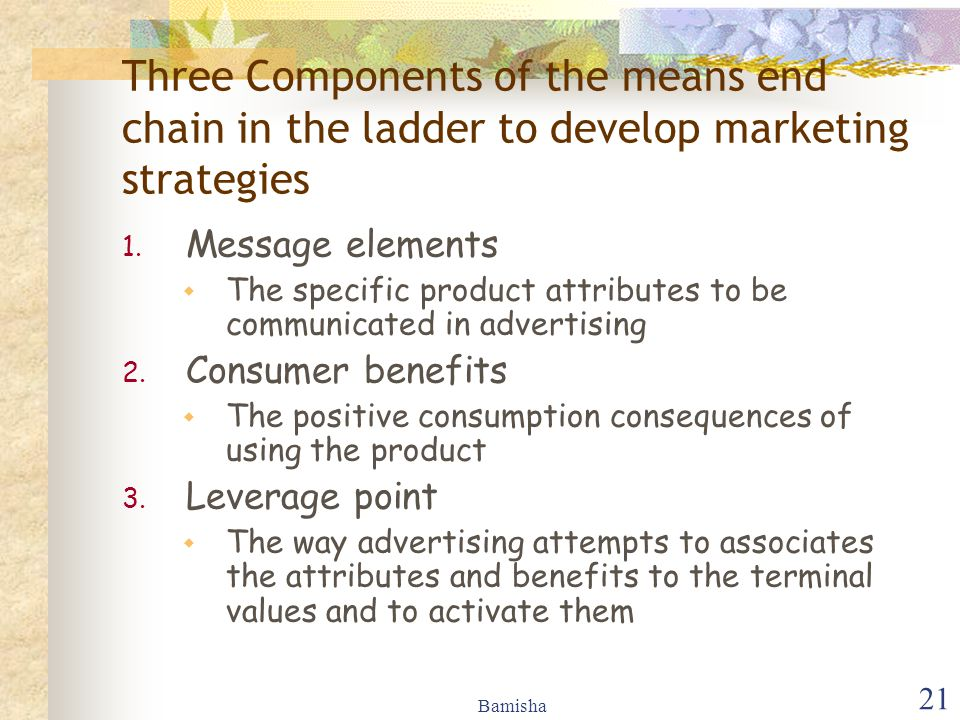 Three Components of the means end chain in the ladder to develop marketing strategies