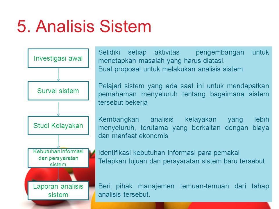 5. Analisis Sistem Investigasi awal. Survei sistem. Studi Kelayakan. Kebutuhan informasi dan persyaratan sistem.