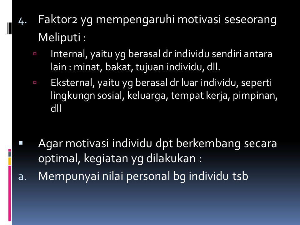 Faktor2 yg mempengaruhi motivasi seseorang Meliputi :
