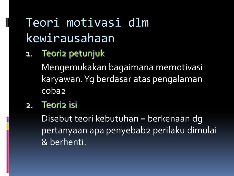 Teori motivasi dlm kewirausahaan