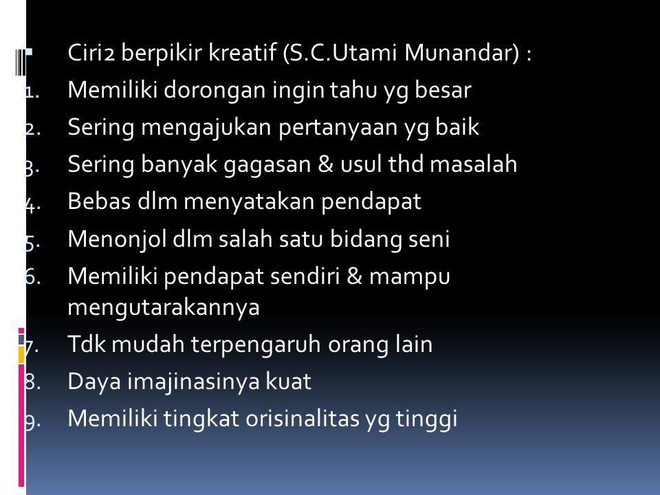 Ciri2 berpikir kreatif (S.C.Utami Munandar) :