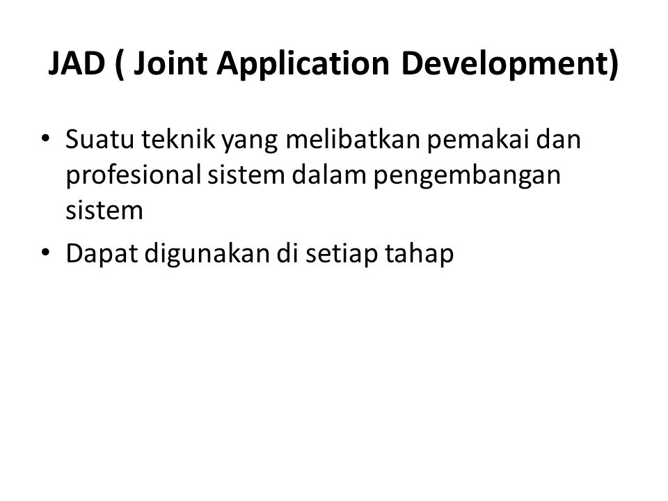 JAD ( Joint Application Development)