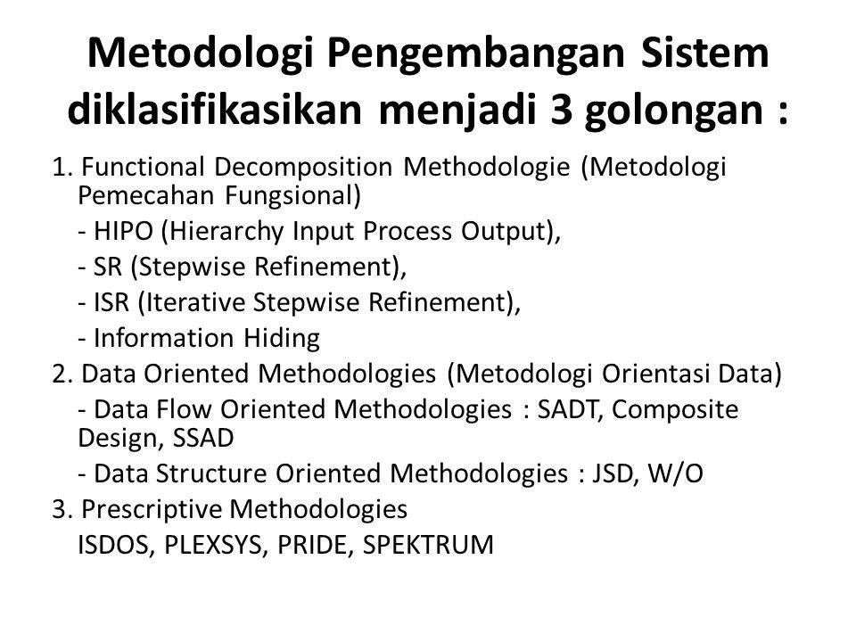 Metodologi Pengembangan Sistem diklasifikasikan menjadi 3 golongan :