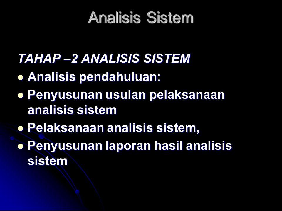 Analisis Sistem TAHAP –2 ANALISIS SISTEM Analisis pendahuluan: