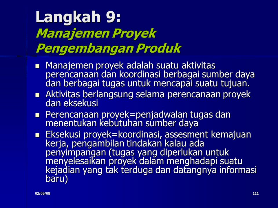Langkah 9: Manajemen Proyek Pengembangan Produk