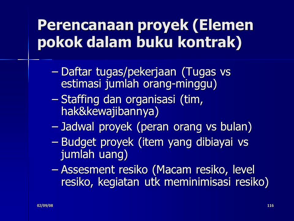 Perencanaan proyek (Elemen pokok dalam buku kontrak)