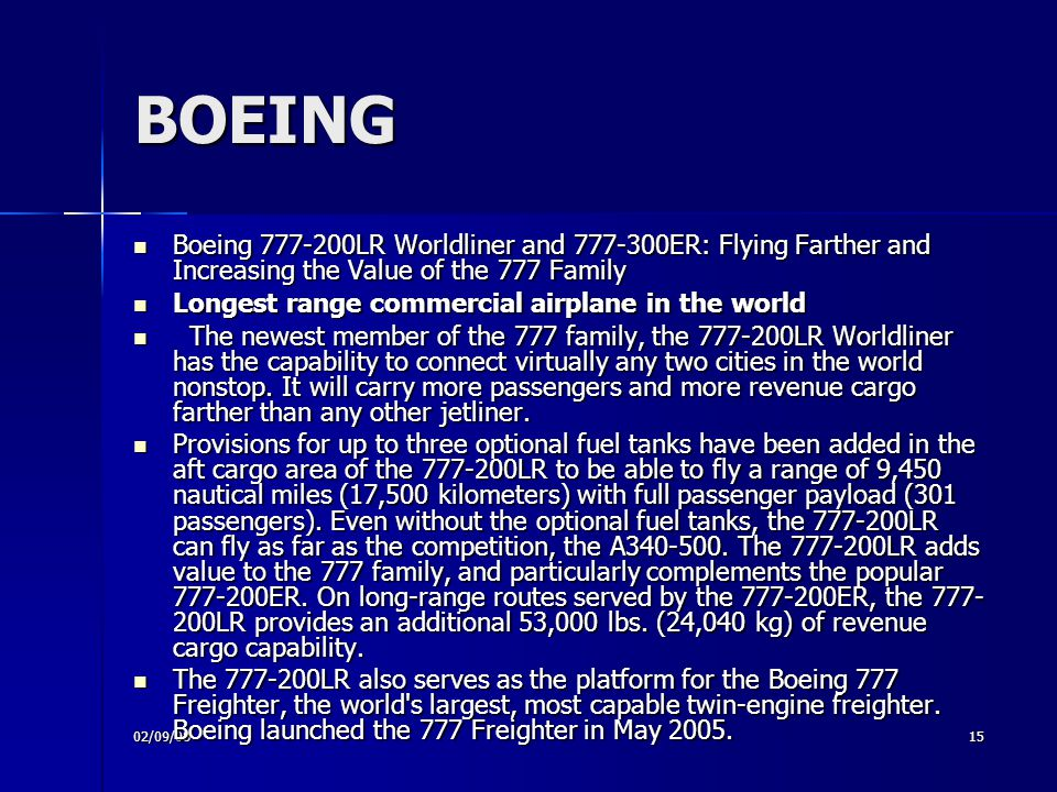 BOEING Boeing 777-200LR Worldliner and 777-300ER: Flying Farther and Increasing the Value of the 777 Family.