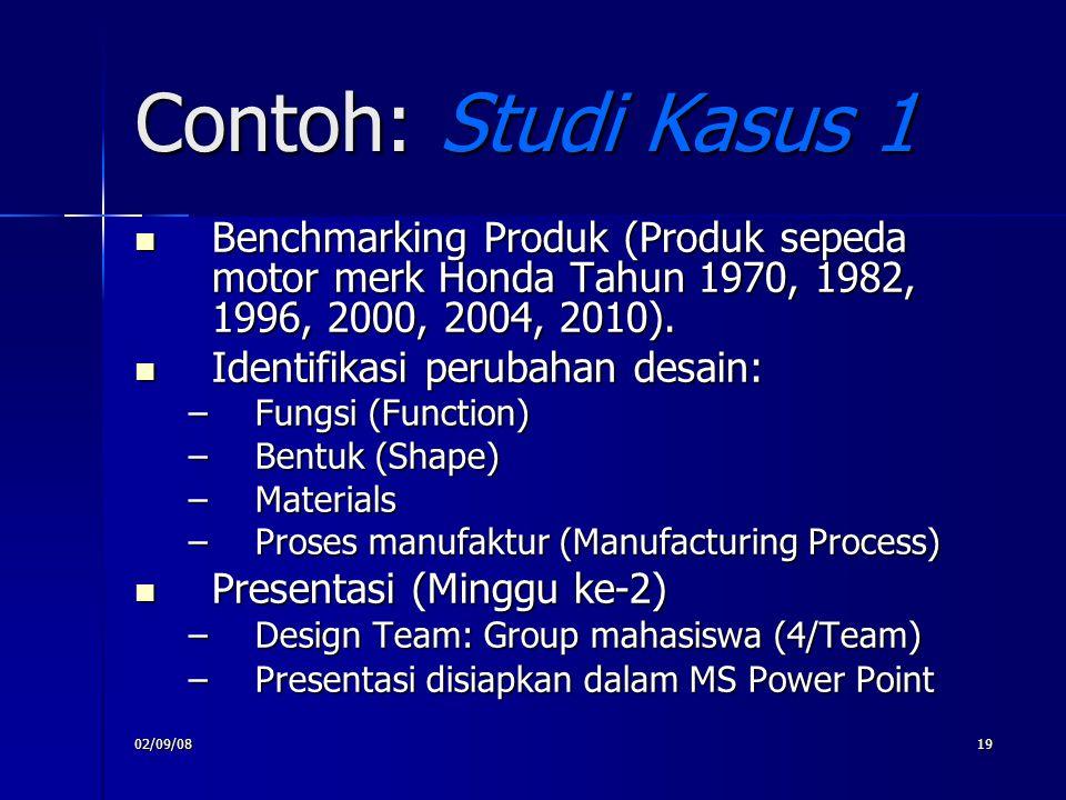 Contoh: Studi Kasus 1 Benchmarking Produk (Produk sepeda motor merk Honda Tahun 1970, 1982, 1996, 2000, 2004, 2010).