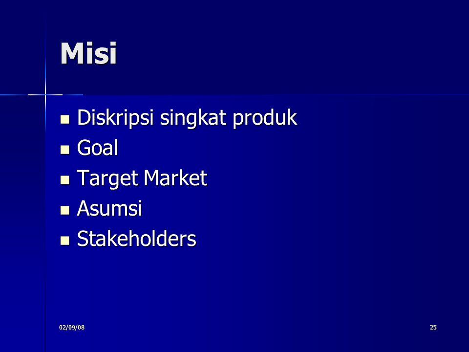 Misi Diskripsi singkat produk Goal Target Market Asumsi Stakeholders