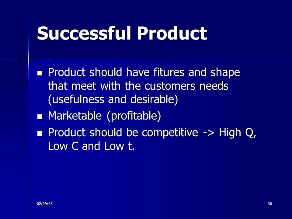 Successful Product Product should have fitures and shape that meet with the customers needs (usefulness and desirable)‏