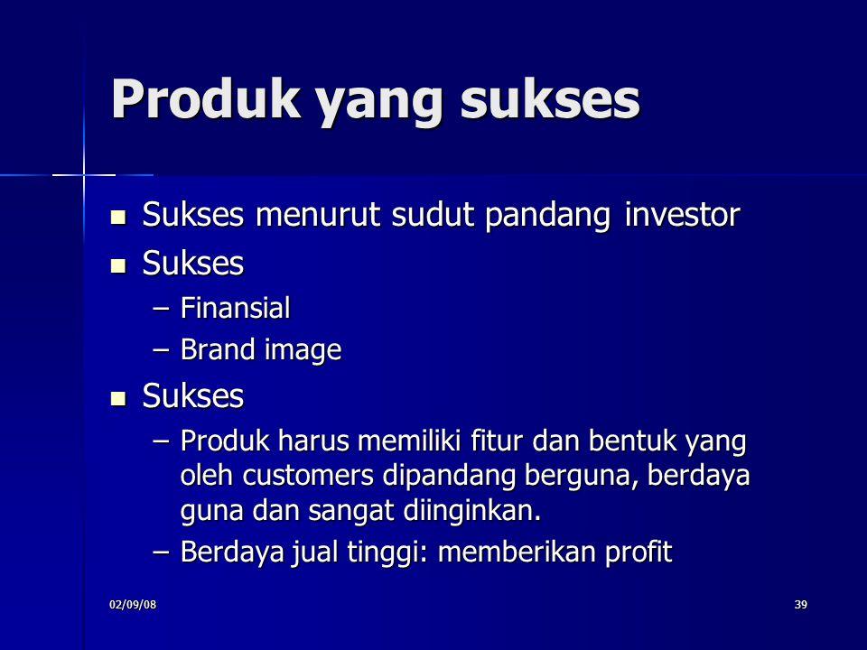 Produk yang sukses Sukses menurut sudut pandang investor Sukses