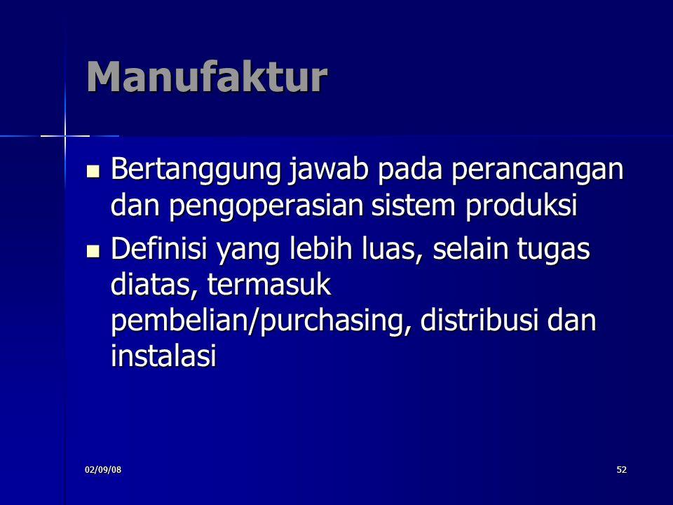 Manufaktur Bertanggung jawab pada perancangan dan pengoperasian sistem produksi.