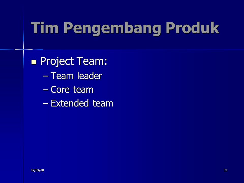 Tim Pengembang Produk Project Team: Team leader Core team