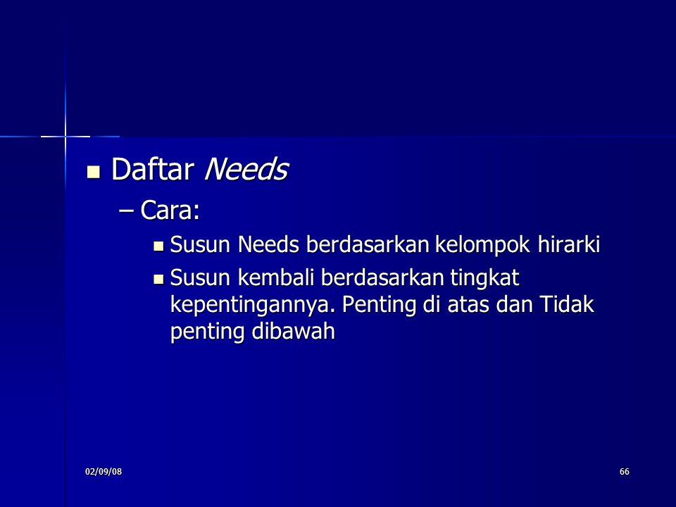 Daftar Needs Cara: Susun Needs berdasarkan kelompok hirarki