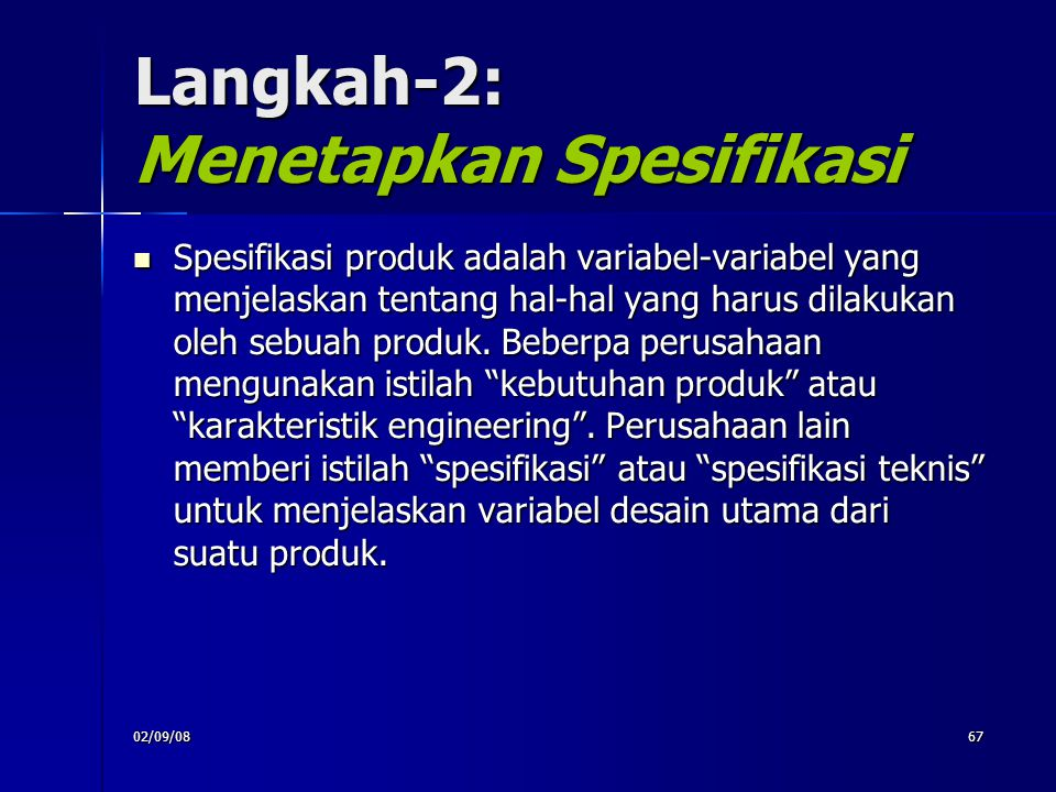 Langkah-2: Menetapkan Spesifikasi