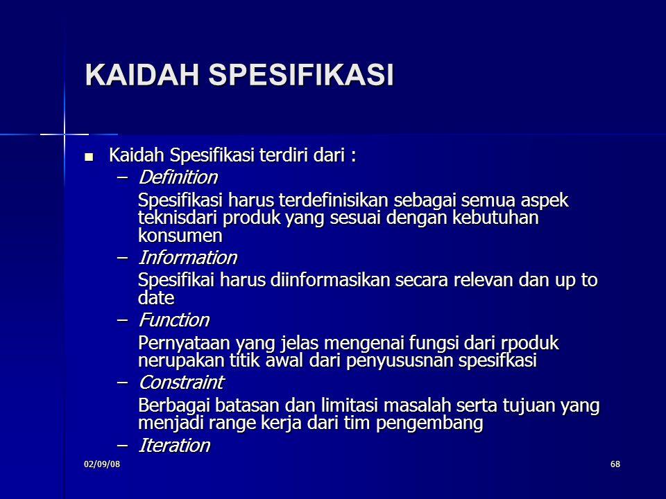 KAIDAH SPESIFIKASI Kaidah Spesifikasi terdiri dari : Definition